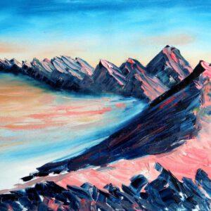 Israel-Ölgemälde: Mount Karbolet Sunrise auf Leinwand 80×60 cm