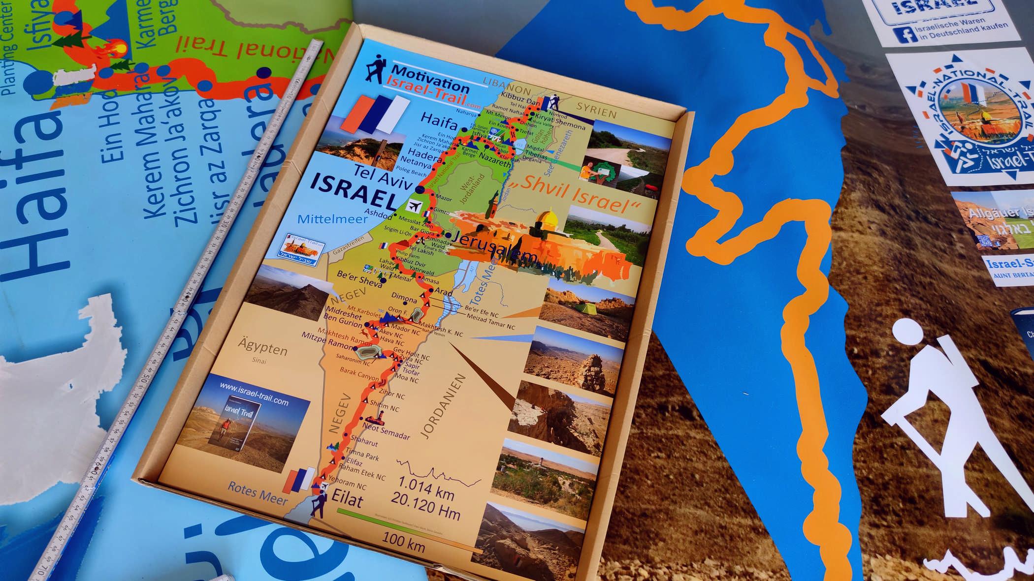 Israel-Landkarte Poster, Motivationsposter zum Wandern, Israel-Trail