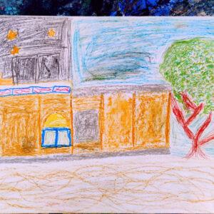 """Gemälde """"Kindergarten"""" von Kindern im Kibbuz Neot Semadar für den guten Zweck"""