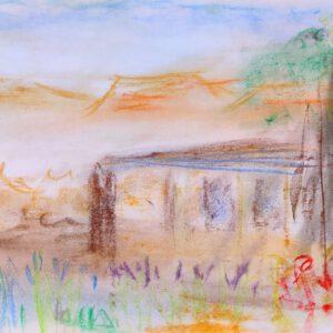 """Gemälde """"Kibbuz in der Wüste Negev"""" von Kindern im Kibbuz Neot Semadar für den guten Zweck"""