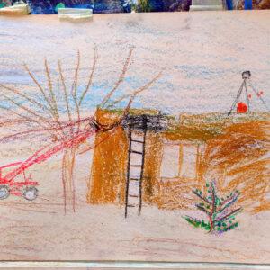 """Gemälde """"Bau eines Kindergartens"""" von Kindern im Kibbuz Neot Semadar für den guten Zweck"""