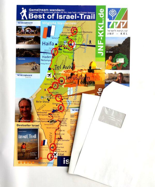Faltposter Israel und Israel Trail, Wandern