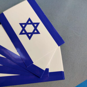 20x Wetterfeste Aufkleber Israel-Flagge 7,40 x 10,50 cm