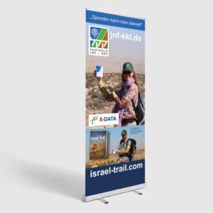 """Rollup """"Spenden kann man überall"""" - Spendenwerbung für Israels größte grüne Organisation, den JNF-KKL"""
